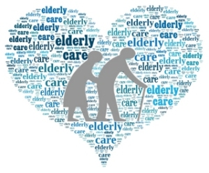 Elderly Care Sign in Word Collage